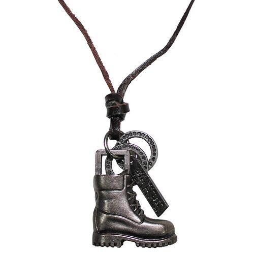 """Braun Halsband, """"Stiefel"""", Leder, braun Lederband Halskette Anhänger"""