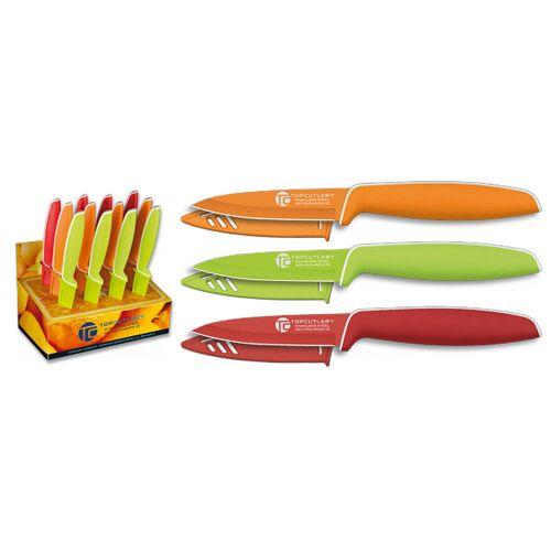 Buntes Küchenmesser rot grün orange Obstmesser Klingenschutz