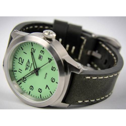 "Armbanduhr, ""FLIEGER"", Lederarmband grau, mit Etui"