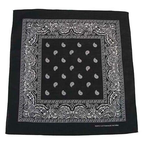 Bandana, schwarz-weiß, Gr. 55 x 55 cm, Baumwolle Mundschutz Mund- Nase- Schutz