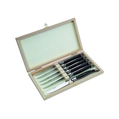 Laguiole Steakmesser-Satz, Griff,sw Holzbox + 6 Messern