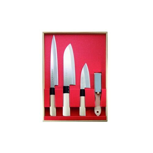 Japanisches Kochmesser-Set,3 Messer und Abziehstein J2,