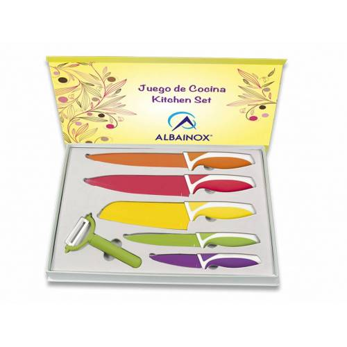 6 Tlg. farbige Küchenmesser Set bunte Messer mit Spar-Schäler