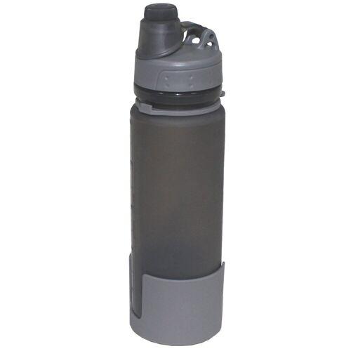 Trinkflasche, faltbar, grau, Silikon, 0,5 Liter