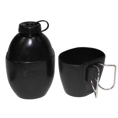 Brit. Plastikfeldflasche, schwarz, Becher