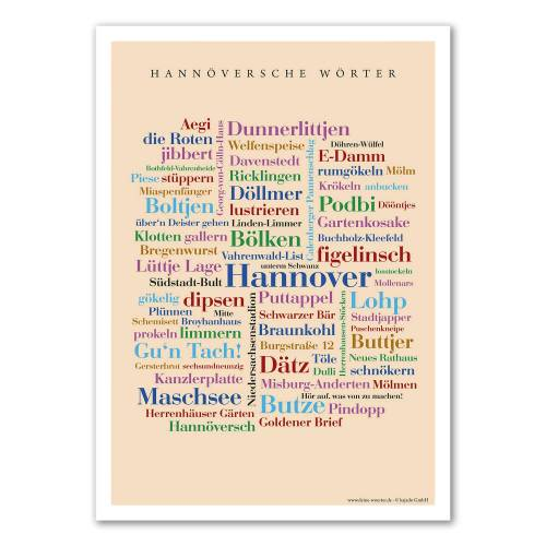 Poster Hannöversche Wörter - 30x40 cm