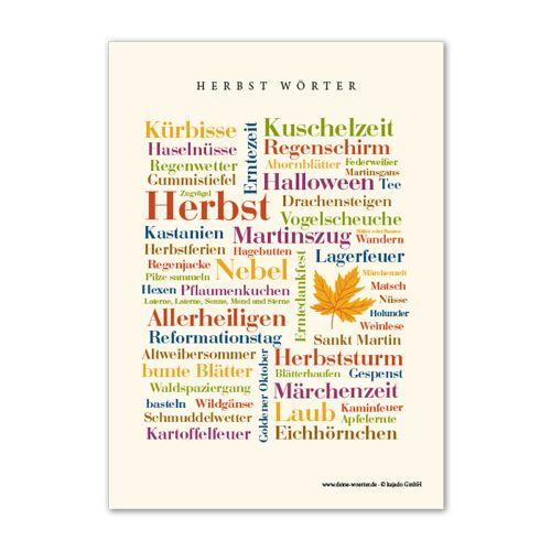 Postkarte Herbst Wörter (DIN A6)