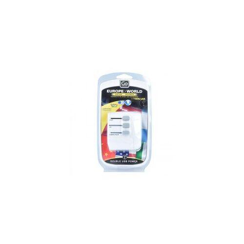 Go Travel Europe-World Reiseadapter weltweit USB 6 cm weiss