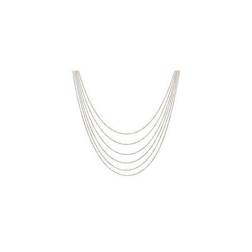Unique Tricolore 925er Silberkette mehrreihig