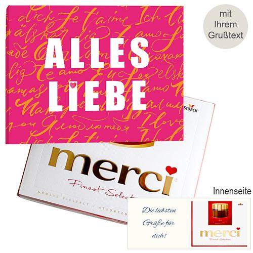 Persönliche Grußkarte mit Merci: Alles Liebe (250g)