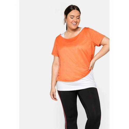 Sheego Shirt und Top Sheego mandarine+weiß  44,46,48,50,52,54,56,58