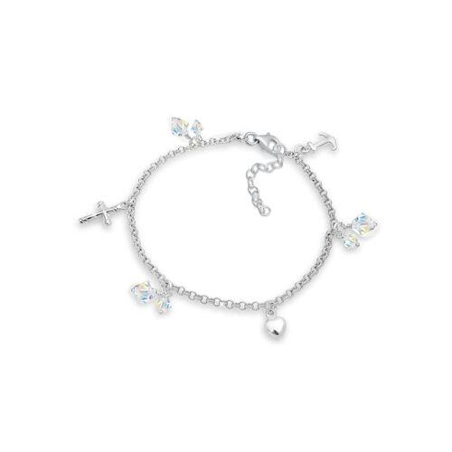 Elli Armband Kreuz Herz Anker Kristalle 925 Silber Elli Gold  001