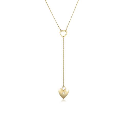 DIAMORE Halskette Y-Kette Herz Romantik Diamant (0.03 Ct) 925 Silber DIAMORE Gold  001
