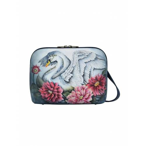 ANUSCHKA Umhängetasche Swan Song aus handbemaltem Leder ANUSCHKA bunt  001