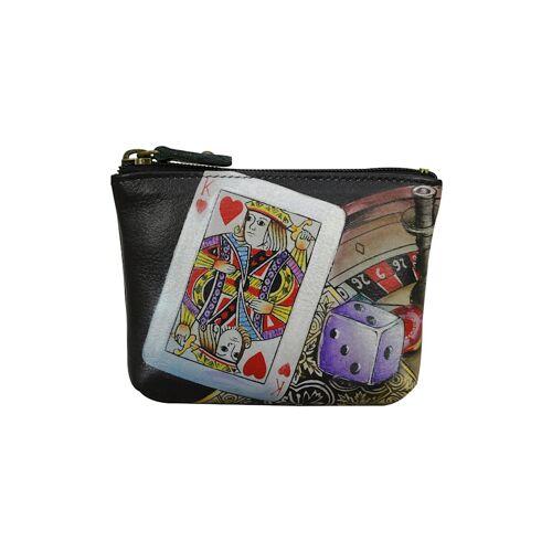 ANUSCHKA Mini Geldbörse High Roller aus handbemaltem Leder ANUSCHKA mehrfarbig  001 001