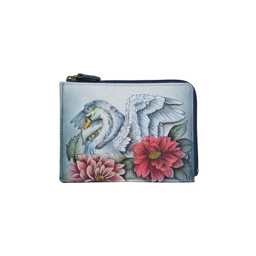 ANUSCHKA Schlüsseltasche Swan Song aus handbemaltem Leder ANUSCHKA mehrfarbig  001