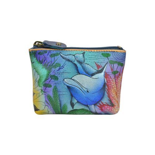 ANUSCHKA Mini Geldbörse Dolphin World aus handbemaltem Leder ANUSCHKA mehrfarbig  001 001