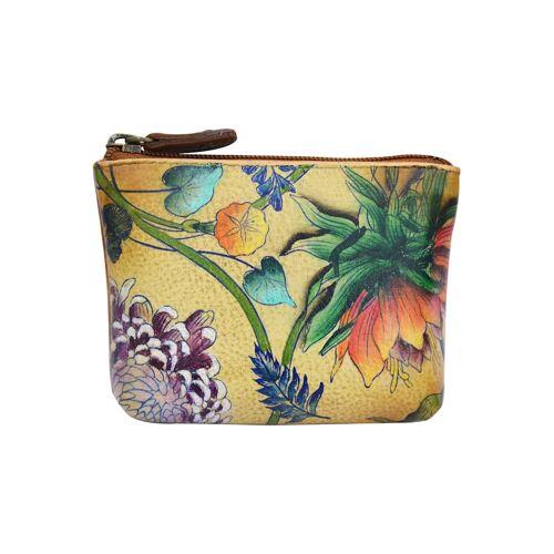 ANUSCHKA Mini Geldbörse Caribbean Garden aus handbemaltem Leder ANUSCHKA mehrfarbig  001 001