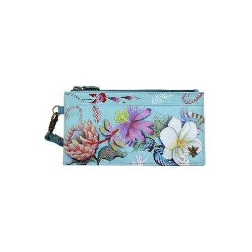 ANUSCHKA Brieftasche Jardin Bleu aus handbemaltem Leder ANUSCHKA mehrfarbig  001