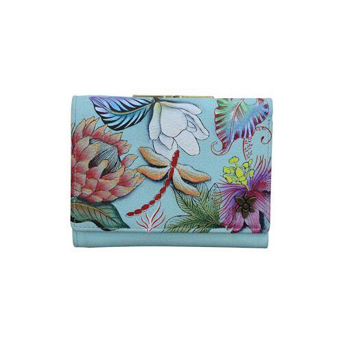ANUSCHKA Geldbörse Jardin Bleu aus handbemaltem Leder ANUSCHKA mehrfarbig  001 001