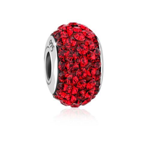Nenalina Charm Kugel Bead Kristalle Glitzer 925 Silber Nenalina Rot  001