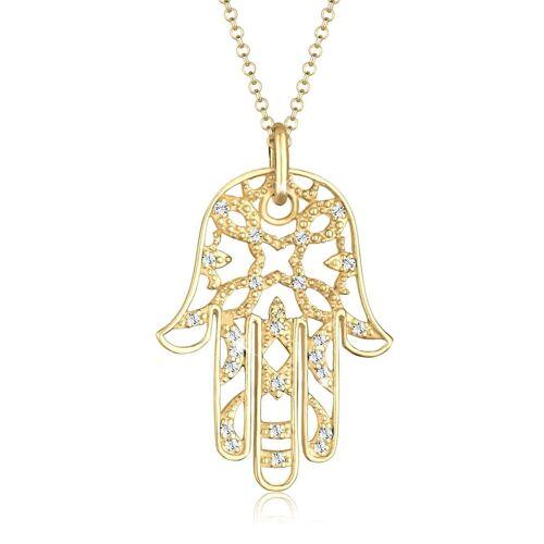 Elli Premium Halskette Hamsa Hand Der Fatima Kristalle 925 Silber Elli Premium Gold  001