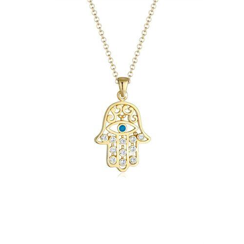 Elli Halskette Hamsa Evil Eye Kristalle Silber Elli Gold  001