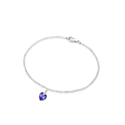 Elli Armband Herz Kristalle 925 Sterling Silber Elli Violett  001