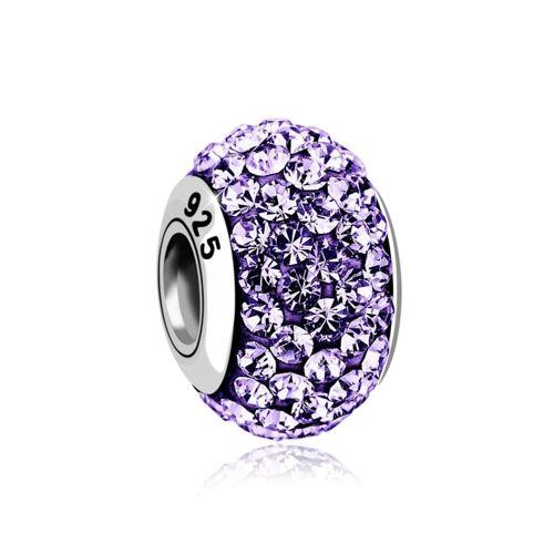Nenalina Charm Kugel Bead Kristalle Glitzer 925 Silber Nenalina Violett  001