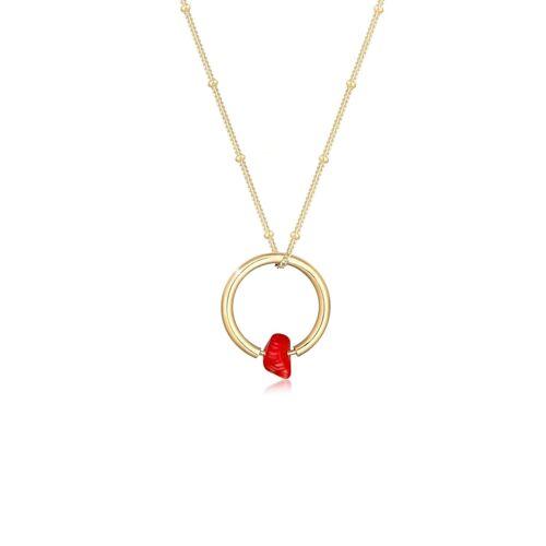 Elli Halskette Kugelkette Kreis Geo Korallen-Bead 925 Silber Elli Gold  001