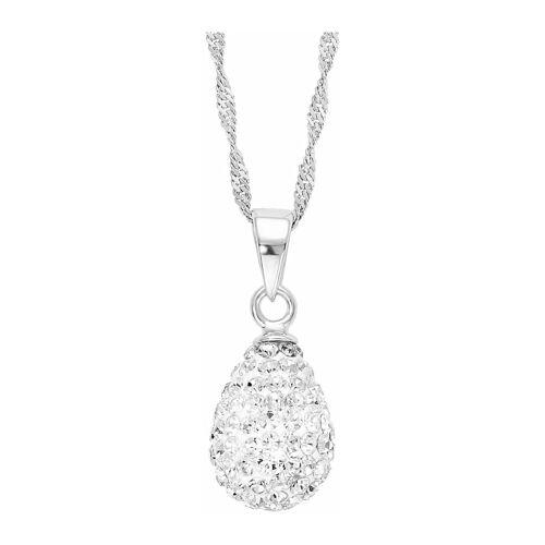 amor Kette mit Anhänger für Damen, Sterling Silber 925, Kristallglas Tropfen amor Silber  001
