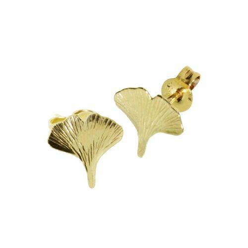 OSTSEE-SCHMUCK Ohrstecker - Ginkgoblatt Gold 333/000 , OSTSEE-SCHMUCK gold  001