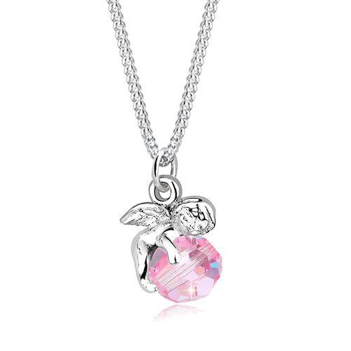 Elli Halskette Engel Kugel Flügel Kristall Silber Elli Rosa  001