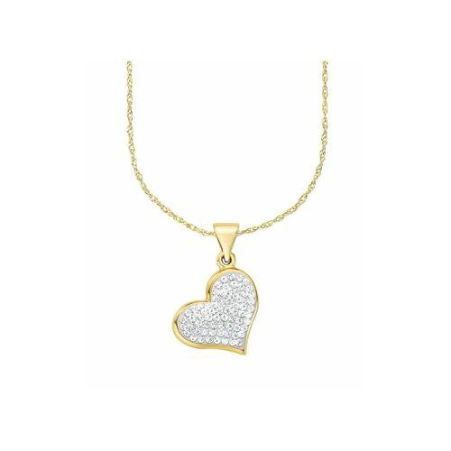 amor Kette mit Anhänger für Damen, Gold 375, Kristallglas Herz amor Gold  001