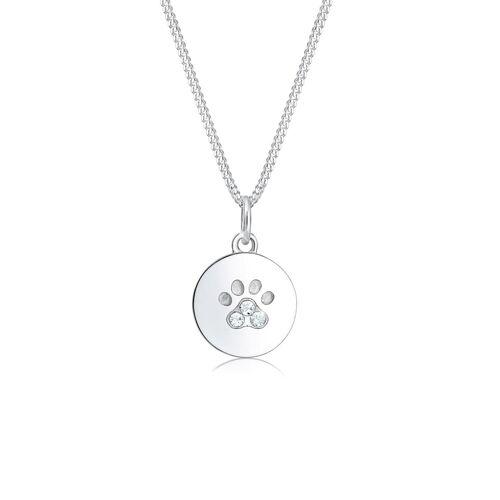 Elli Halskette Pfote Hund Katze Tatze Kristalle 925 Silber Elli Silber  001