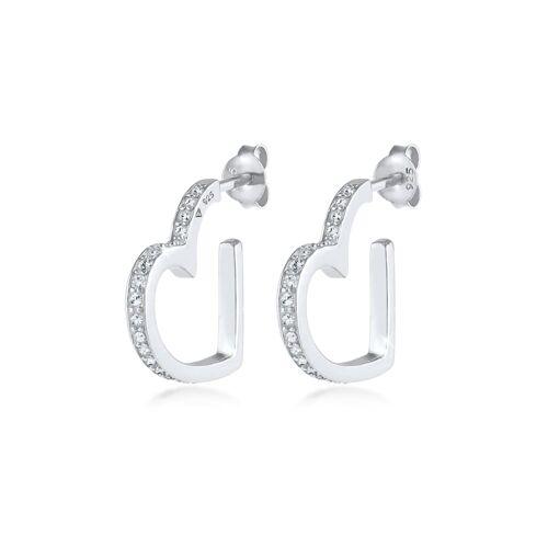 Elli Premium Ohrringe Creolen Herz Liebe Kristalle 925 Silber Elli Premium Silber  001
