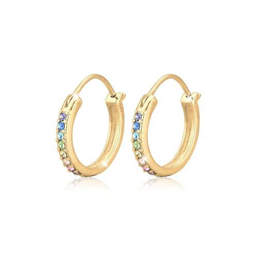 Elli Ohrringe Creole Regenbogen Kristalle 925 Silber Elli Gold  001