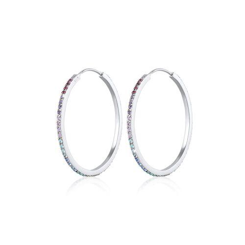 Elli Ohrringe Creole Regenbogen Kristalle 925 Silber Elli Silber  001