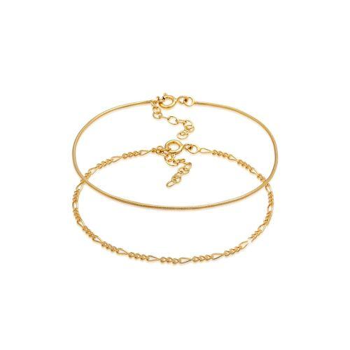 Elli Armband Armkettchen 2Er Set Figaro Rund 925 Silber Elli Gold  001