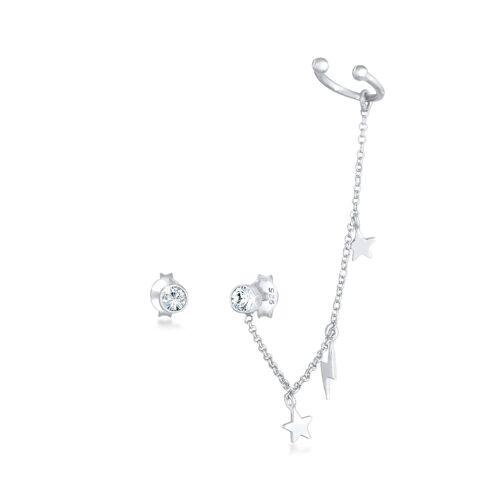 Elli Ohrringe Stecker Kristalle Earcuff Stern Blitz 925 Silber Elli Silber  001
