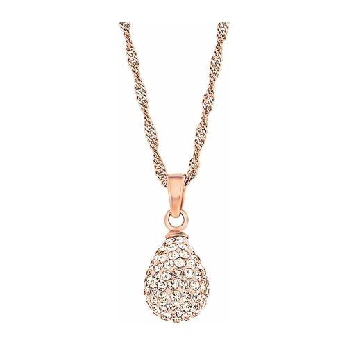 amor Kette mit Anhänger für Damen, Sterling Silber 925, Kristallglas Tropfen amor Apricot  001