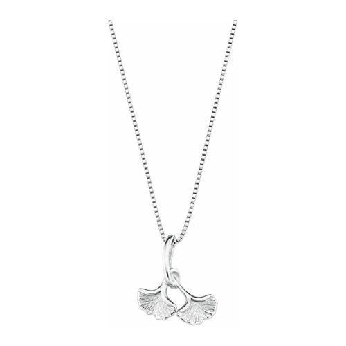 amor Kette mit Anhänger für Damen, Sterling Silber 925, Ginkgoblatt amor Silber  001