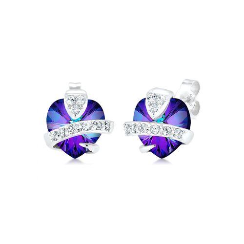 Elli Ohrringe Herz Liebe Kristalle Cute 925 Silber Elli Violett  001