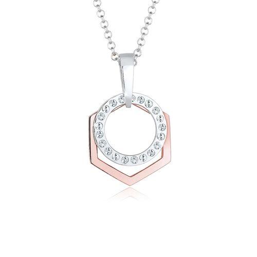 Elli Halskette Hexagon Kreis Kristalle 925 Silber Elli Rosegold  001