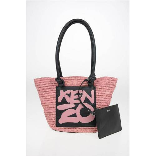 Kenzo Straw Tote Bag with Leather Trimmings Größe Unica