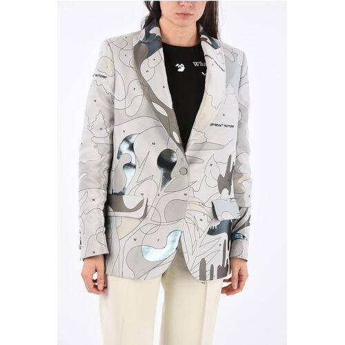 Off-White Center Vent Puzzle Jacquard TOMBOY Blazer Größe 40