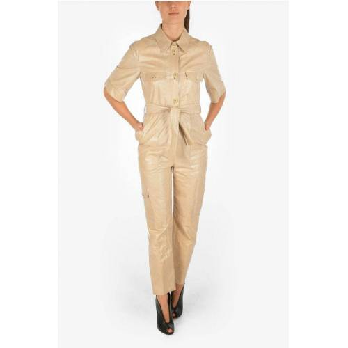 DROMe Leather Utility-Style Jumpsuit With Belt Größe Xs