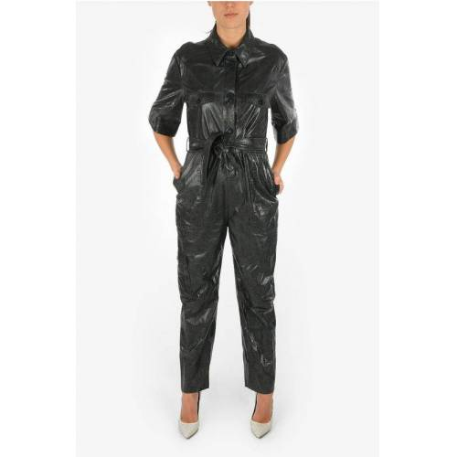 DROMe Leather Utility-Style Jumpsuit With Belt Größe M