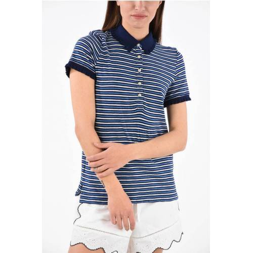 Tory Burch unbalanced striped polo top with Pearls Buttons Größe Xs