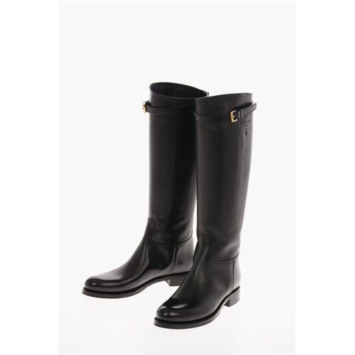 Prada Leather Knee High Boots 5 Cm Größe 40